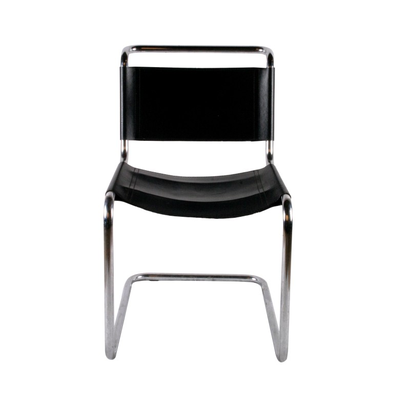 chaise marcel breuer m tal et cuir noir design. Black Bedroom Furniture Sets. Home Design Ideas