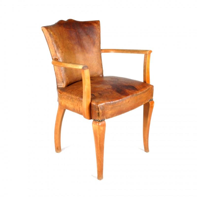 fauteuil art d co en bois et en cuir type bridge. Black Bedroom Furniture Sets. Home Design Ideas